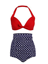 cheap -Women's Polka Dot Dot Retro High Rise Halter Bikini Swimwear,Polyester Nylon Red