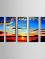 Handpainted Oil Paintings Modern Sea View Sunset Canvas Material with Stretched Frame Ready To Hang