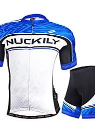 preiswerte -Nuckily Herrn Kurzarm Fahrradtriktot mit Fahrradhosen - Blau Geometrisch Fahhrad Shorts/Laufshorts Trikot/Radtrikot Kleidungs-Sets,