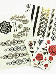 povoljno -Tetovaže naljepnice - Nakit serije - za Žene/Muškarci/Odrasla osoba/Boy - Uzorak - 23*15.5*0.2CM - Uzorak/Hawaiian/Waterproof - 5kom. - (