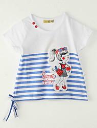 Mädchen T-Shirt-Ausgehen Gestreift Polyester Sommer Weiß