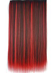 clipe de 26 polegadas na cor multi-extensões de cabelo retas sintéticas com 5 grampos