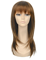 High Quality Long Straight Brown Woman's Party Synthetic Wigs