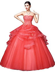 cheap -Ball Gown Strapless Floor Length Satin Tulle Stretch Satin Formal Evening Dress with Crystal Detailing Lace by LAN TING Express