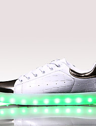 cheap -LED Light Up Shoes, Running Shoes Men's Shoes Athletic / Casual Leather Fashion Sneakers Black / White