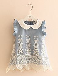 Baby Girl Kid Denim Top Sleeveless Ruffle Princess Dress Tulle Tutu Mini Lace Dress
