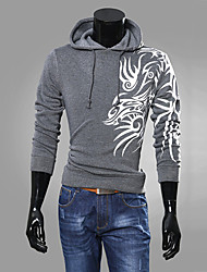 Men's Fashion Chinese Style Dragon Print Hooded Hedging Sweatshirt,Cotton/Polyester/Casual