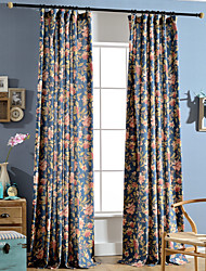Linen Bright-coloured Flower Printing Curtain (Two Panel)