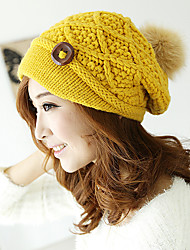 cheap -Pure Color Knit Wool Hat Autumn And Winter Warm Thick Decorative Buttons Hat