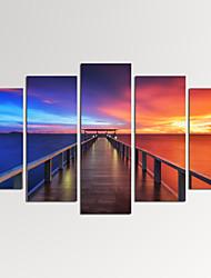 VISUAL STAR®Modern Seascape Giclee Artwork Sunset Bridge Canvas Print Ready to Hang