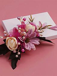 Cristal Imitação de Pérola Strass Tecido Liga Flores Clip para o Cabelo Capacete