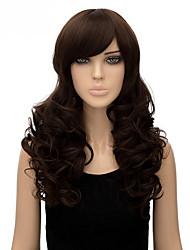 billige -Syntetiske parykker Lige Syntetisk hår Paryk Dame Medium Længde Lågløs Brun