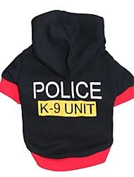 billige -Kat Hund Hættetrøjer Hundetøj Politi/Militær Sort Bomuld Kostume For kæledyr Herre Dame Sødt Mode