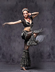 cheap -American tribal style Belly Dance Outfits Women's Performance Lace /  MetalCrystals/ Paillettes / Pattern / Ruffles