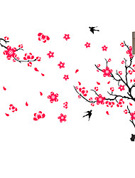 Romance Red Plum Flower Room Wall Stickers Removable DIY Fashion Wall Decals PVC Environmental