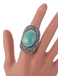 cheap -VIntage Style Silver Turquoise Statemenr Rhinestone Crystal Adjustable Ring