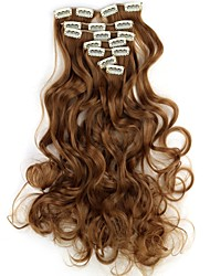 abordables -18 Inch 7pcs/set largo clip ondulado sintético en extensiones de cabello con clips de 16 - 16 colores disponibles