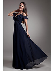 cheap -A-Line Spaghetti Straps Floor Length Chiffon Formal Evening Dress with Pleats by LAN TING Express