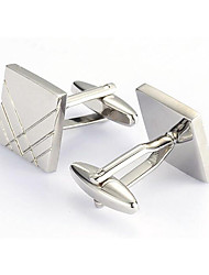 cheap -Men's Fashion Square Silver Alloy French Shirt Cufflinks (1-Pair) Christmas Gifts