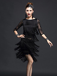 cheap -Latin Dance Outfits Women's Performance Nylon Chinlon Lace Tassel Half Sleeves High Top Skirt