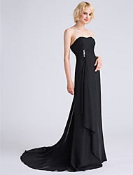 A-Line Strapless Sweep / Brush Train Chiffon Bridesmaid Dress with Beading Side Draping Cascading Ruffles by LAN TING BRIDE®