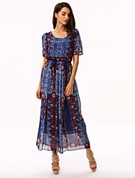 povoljno -Žene Vintage Swing kroj Haljina - Drapirano Print Midi