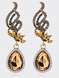 Bohemian Fashion Women Jewelry Temperament Rhinestone Crystal Water Drop Earrings Alloy Wings Pendant Earrings Hot Boucle d'oreille Femme