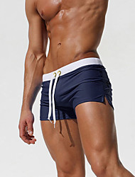 cheap Men's Swimwear-Men's Sporty Bottoms - Solid Colored Blue & White Swim Trunk