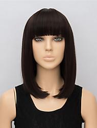Donna Parrucche sintetiche Pantaloncini Lisci Marrone Con frangia Parrucca naturale parrucca nera costumi parrucche