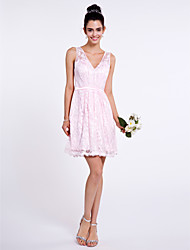 cheap -A-Line V-neck Short / Mini Lace Bridesmaid Dress with Lace by LAN TING BRIDE®