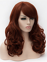 cheap -Synthetic Wig Curly Asymmetrical Haircut / With Bangs Synthetic Hair Natural Hairline Brown Wig Women's Long Cosplay Wig Capless