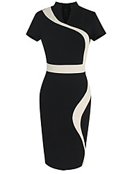 Women's Europe V Neck Vintage Contrast / Block Color Bodycon Short Sleeve Pencil Midi Dress,