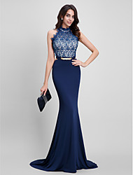 Mermaid / Trumpet Halter Sweep / Brush Train Lace Jersey Formal Evening Dress with Beading Lace by TS Couture®