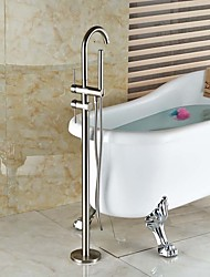 cheap -Contemporary Art Deco/Retro Modern Tub And Shower Widespread Handshower Included Pullout Spray Floor Standing Ceramic Valve Two Holes Two