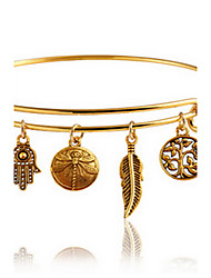 cheap -Gold Adjustable Bangle Bracelet with Leaf Palm Pendant