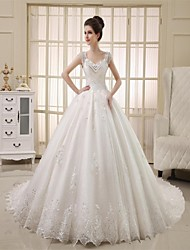 cheap -Princess Straps Cathedral Train Tulle Wedding Dress with Beading Lace by