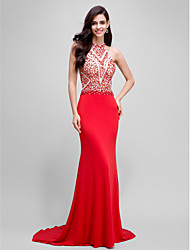 Mermaid / Trumpet Halter Sweep / Brush Train Jersey Formal Evening Dress with Beading by TS Couture®