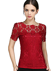 Women's Lace Patchwork Lace Hook Plus Size Slim Hollow Out All Match T-shirt,Round Neck Short Sleeve