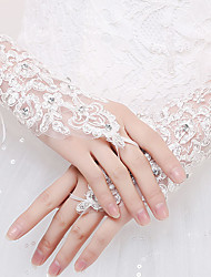 Wrist Length Fingerless Glove  / Spandex Bridal Gloves / Party/ Evening Gloves Spring / Summer /  White Rhinestone