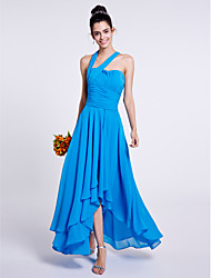 cheap -A-Line One Shoulder Asymmetrical Chiffon Bridesmaid Dress with Draping Ruching by LAN TING BRIDE®