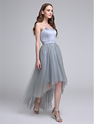 A-Line Sweetheart Asymmetrical Satin Tulle Bridesmaid Dress with Sash / Ribbon by LAN TING BRIDE®