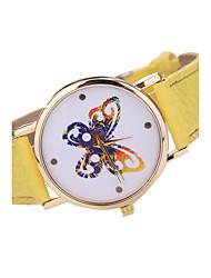 baratos -Mulheres Quartzo Quartzo Japonês Relógio de Pulso Relógio Casual Couro Banda Casual Borboleta Fashion Preta Branco Marrom Cores Múltiplas