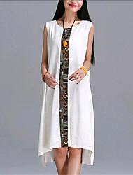 Žene Izlasci Ulični šik Širok kroj Asimetričan Haljina Kolaž Bez rukávů Okrugli izrez