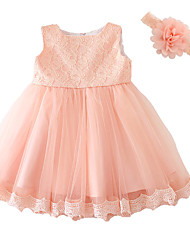 Baby Party Solid Dress,Polyester Summer-Bow Dresswear Short Sleeve Pink