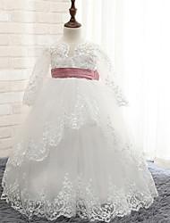 robe de bal longueur de plancher robe de fille de fleur - rayon manches longues col de bijoux par lovelybees
