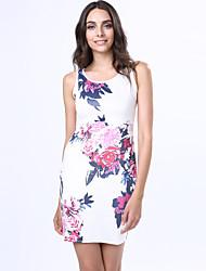 abordables -Moulante Robe Femme Soirée Chinoiserie,Fleur Col Ras du Cou Au dessus du genou Sans Manches Blanc Coton Lin Autres Eté Taille Normale