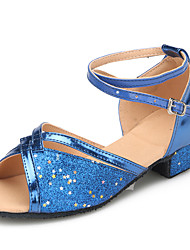 cheap -Kids' Dance Shoes Paillette Paillette Latin Heels Flat Heel Practice / Indoor Black