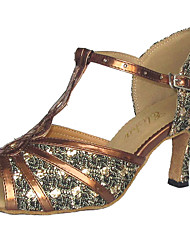 Women's Dance Shoes Latin/Ballroom Leatherette/Sparkling Glitter Heel Silver Customizable