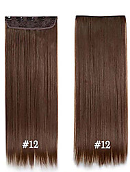 cheap -24inch 60cm #12 Long Straight Hair Clip in Hair Extensions  Synthetic HairPieces for Beautiful Women