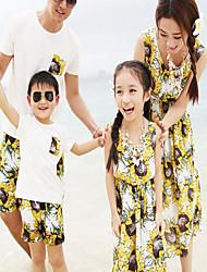 Унисекс Платье Набор одежды На каждый день Хлопок Цветочный принт Лето Короткие рукава Желтый